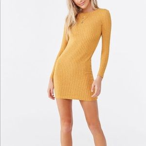 NWT FOREVER21 Gold Marled Bodycon Mini Dress